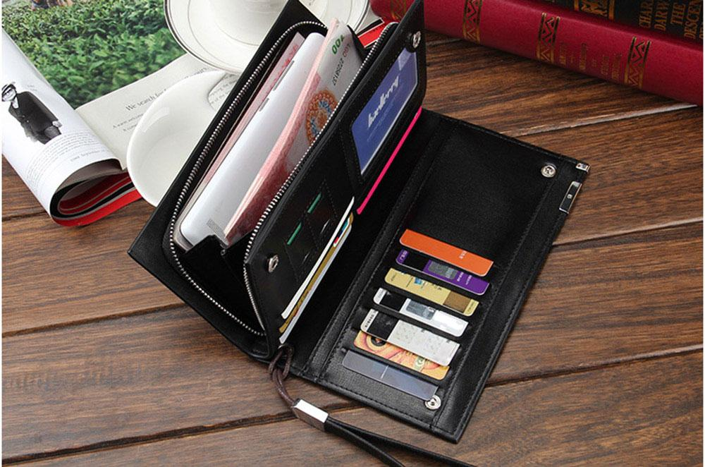 Solid Color Letter Hasp Zipper Vertical Clutch Wallet for Men