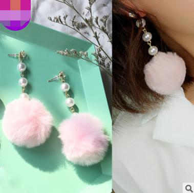 New autumn and winter models asymmetric Korean otter hair ball earrings female tassel butterfly long section popular European and American earrings jewelry