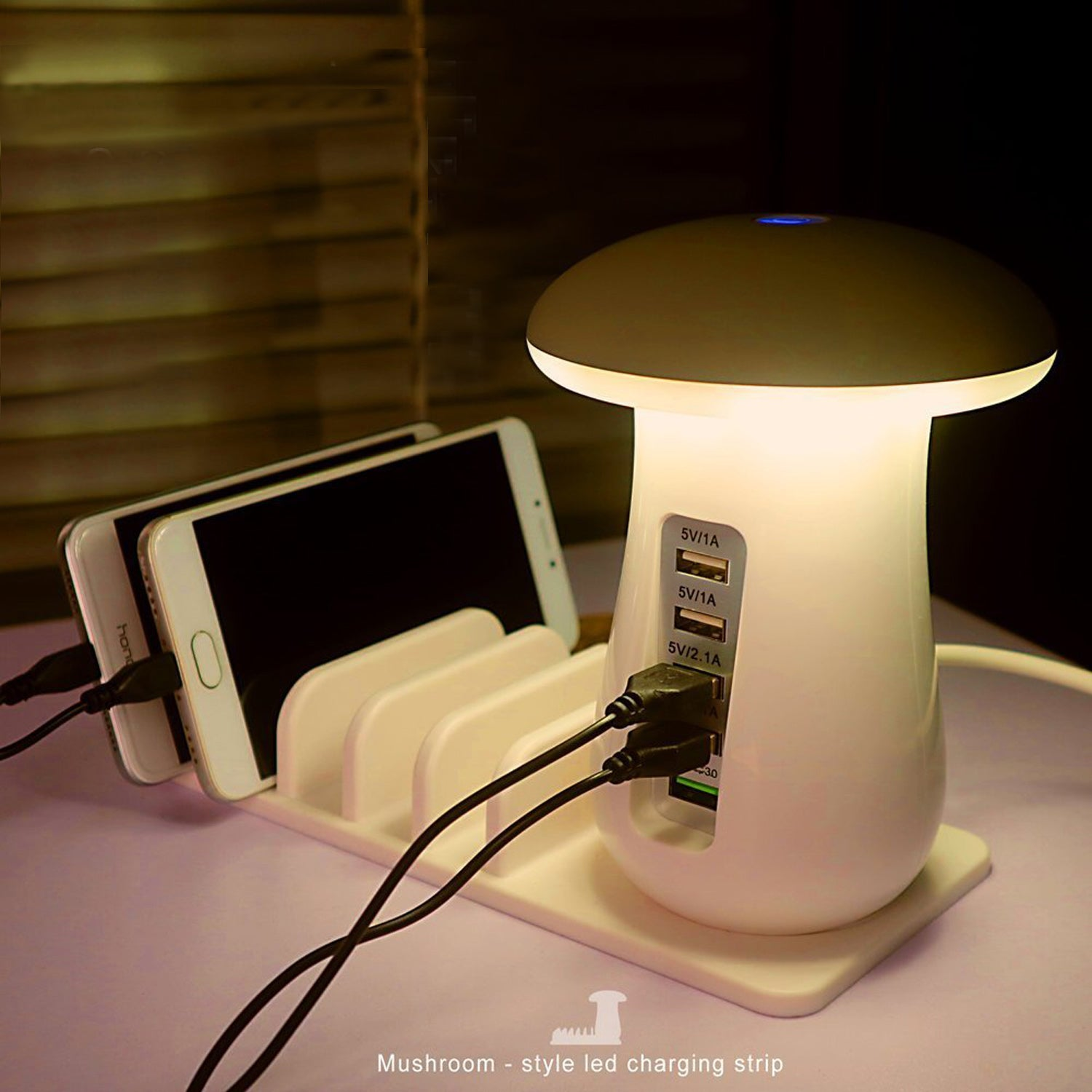 5 Port Quick Charge 3.0 USB Hub With Nightlight