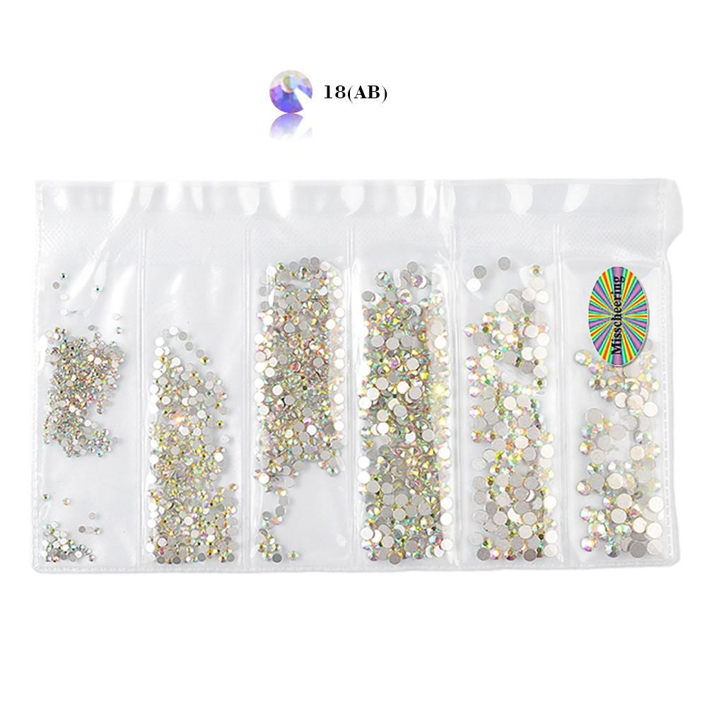 Mixed Size 1440pcs Glass Nail Rhinestones For Nail Art Decorations Crystals Strass Charms Partition Rhinestone Set