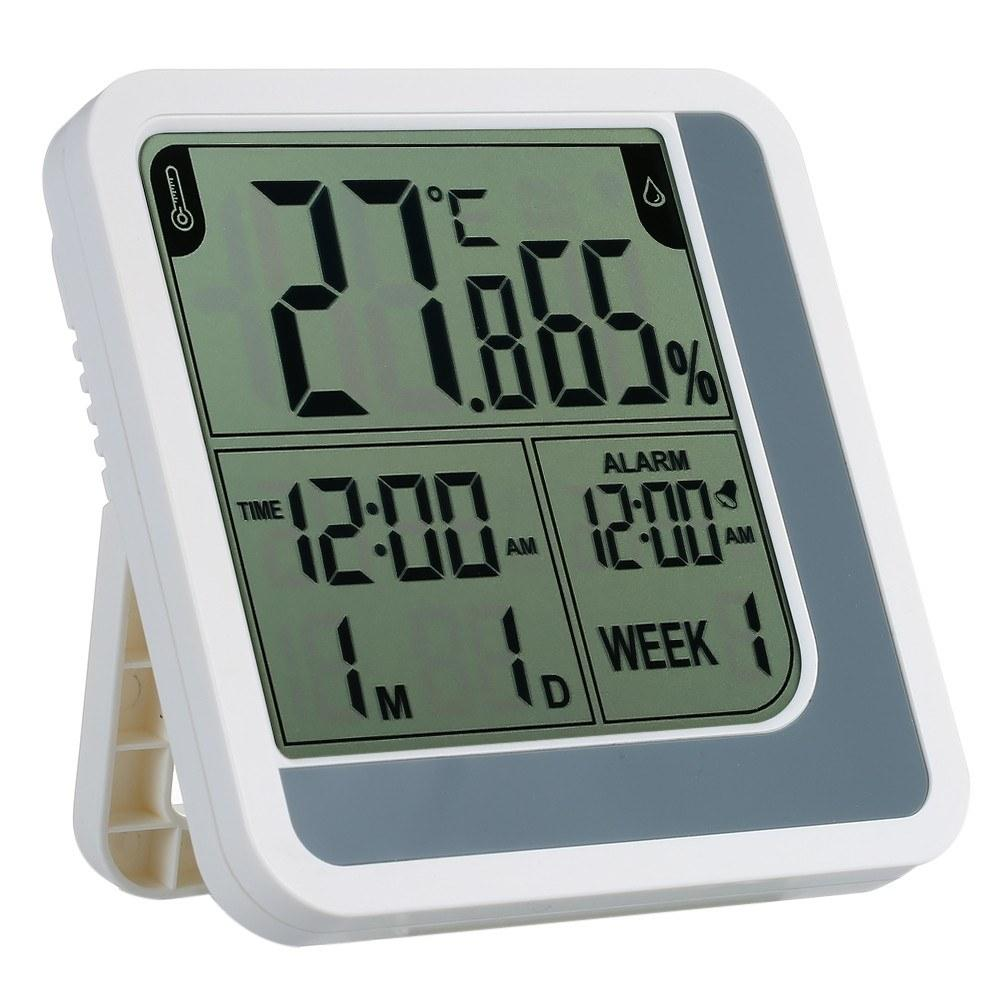 LCD Digital Indoor Thermometer Hygrometer Room ℃/℉ Temperature Humidity Gauge Meter Alarm Clock Thermo-Hygrometer with Max Min Value Display
