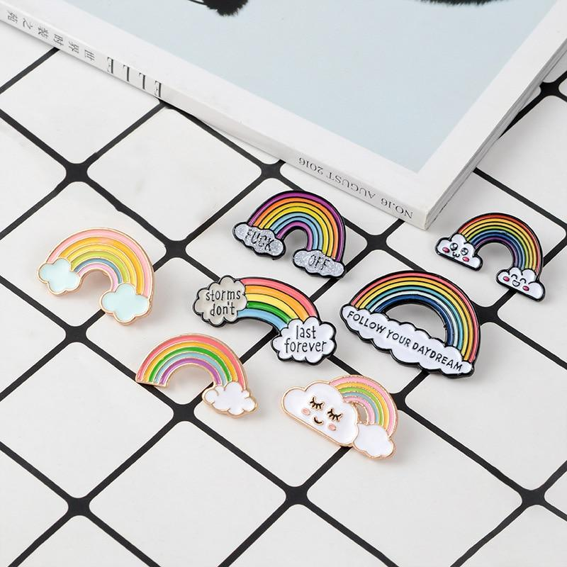 Creative rainbow cloud badge brooch