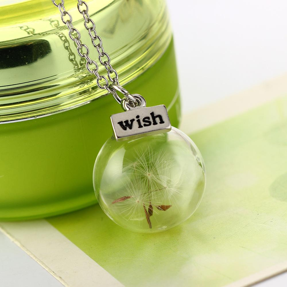Dandelion flower seed glass cover plant specimen pendant necklace