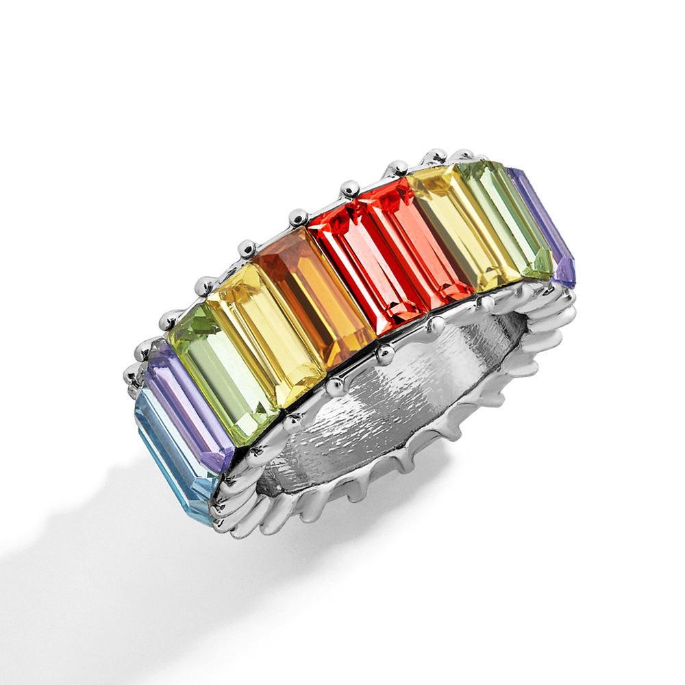 Colorful personality fashion geometric ring