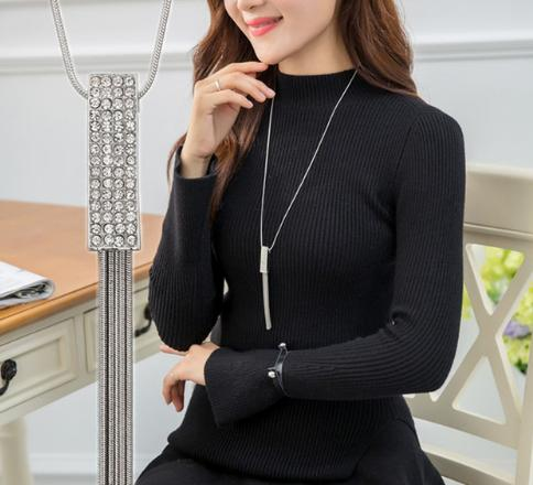 Korean fashion accessories, sweater chain, Crystal Snowflake Necklace, long necklace necklace, tassel sweater chain