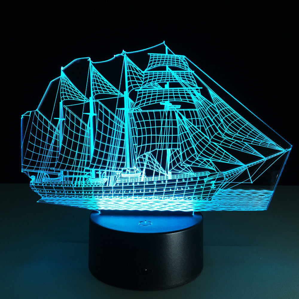 3D LED Sailing Ship Lamp