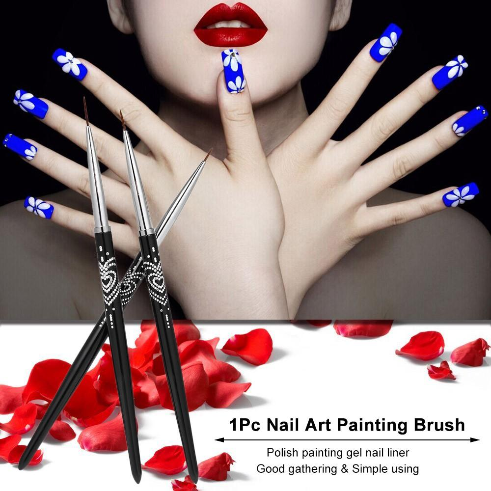 Nail Art Painting Brush Nail Pen Crystal Acrylic Nail Art UV Gel Painting Line Brush Nylon Hair Pen Manicure Nail Liner Tool 7mm