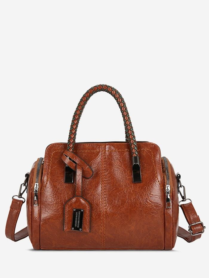 Solid Leather Retro Handbag