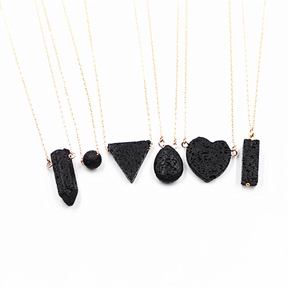 Natural Agate Volcanic Stone Love Triangle Hexagonal Pendant Necklace