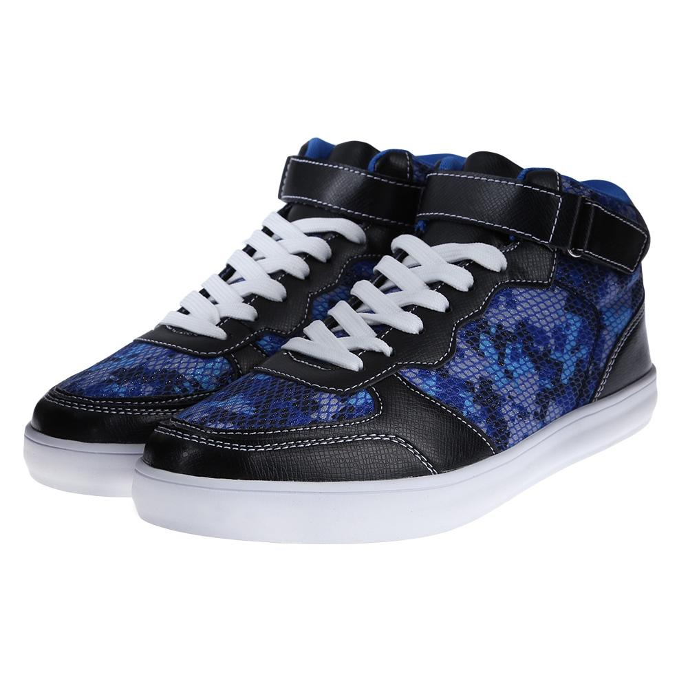 Casual Patchwork Design Pattern Decoration Male Lace Up High-top Sneakers