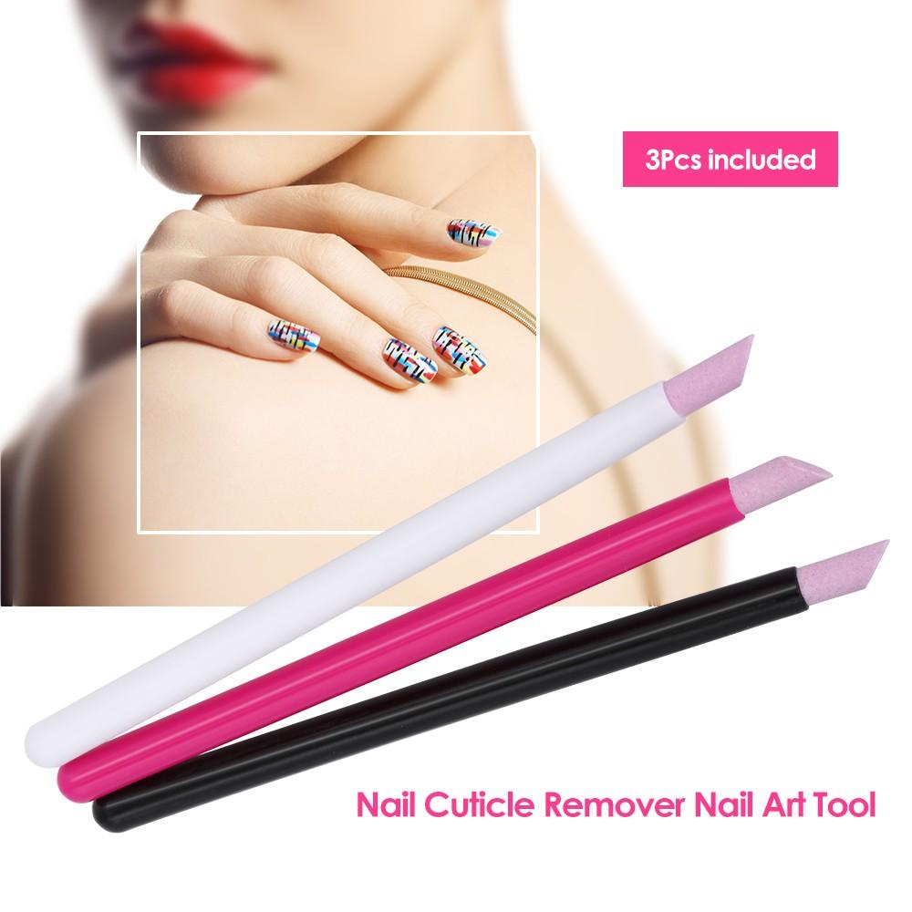 3 Pcs Nail Cuticle Remover Nail Art File Pen Stone Pusher Nail Cuticle Pusher Manicure Tools