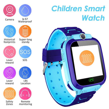 "S12B Multifunctional Kids Children Smart Watch Tracker Intelligent Band Sensitive 1.44"" Touch Screen Compatible for Android/ IOS Phone System Chat Call Camera Alarm Clock LBS Positioning for Present Gift"