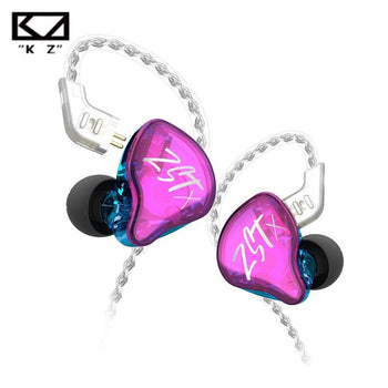KZ ZST - X 1DD + 1BA In-ear Wired Earphones Without Mic 10mm Hybrid Driver Hi-Fi Sound Detachable Silver Plated Cable