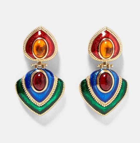 Best lady Vintage Mexico multicolor square earrings for women Metal earrings bright christmas fashion jewelry gift Bohemian hot