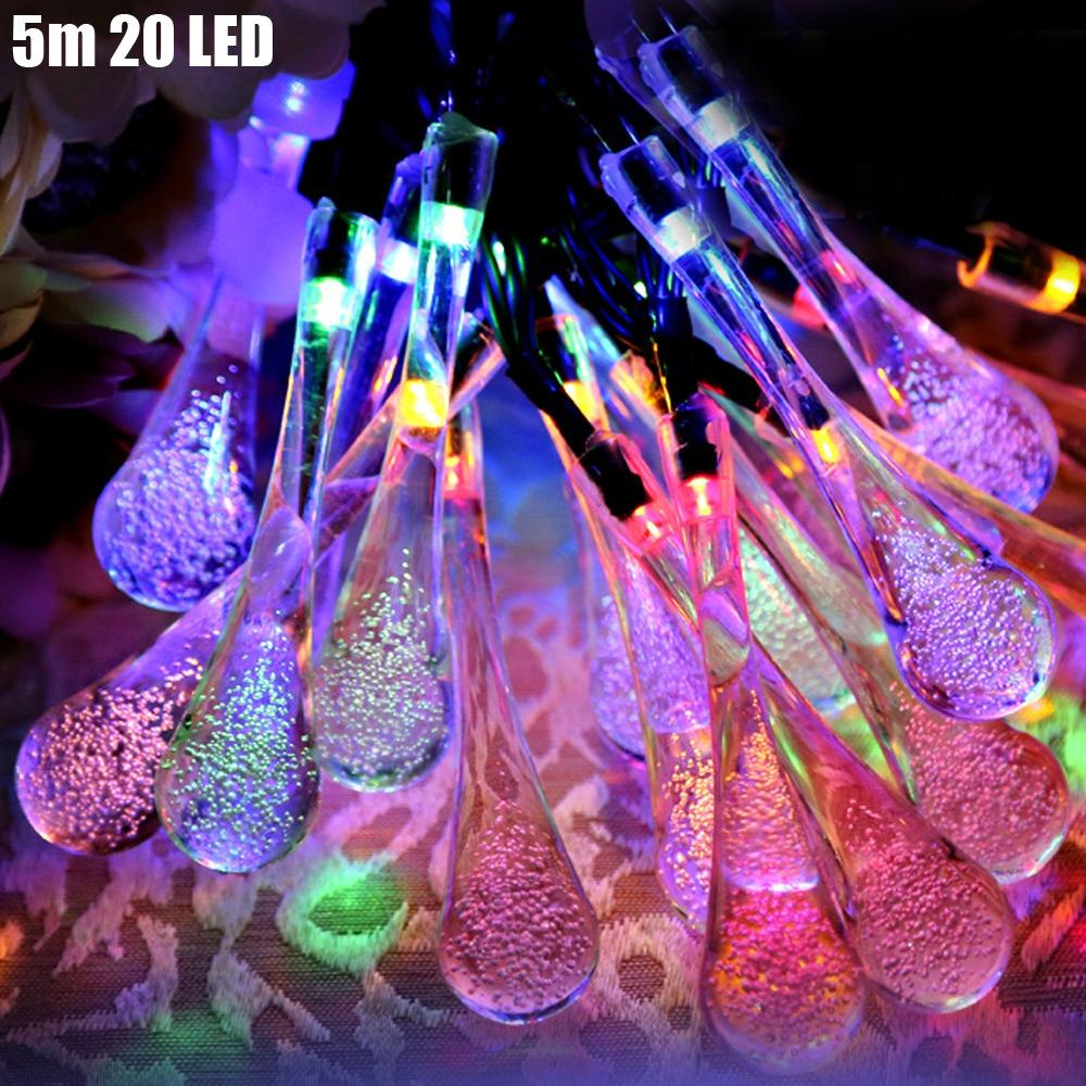 Christmas Tree Decors 5m 20 LED Solar String Light Water Drop Shape Lamp Xmas Tree Ornament