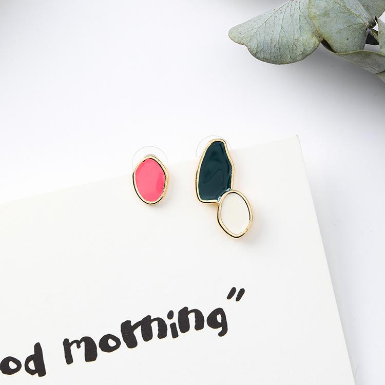 Sweet geometric irregular glazed Earrings Cool wind ins Simple abstract graphic Earrings
