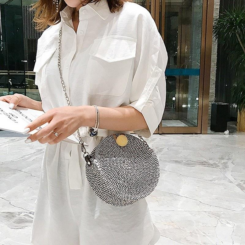 Fashion Women Straw Crossbody Bag Small Round Shape Bag Thread Ball Summer Vacation Beach Single Chain Shoulder Bag