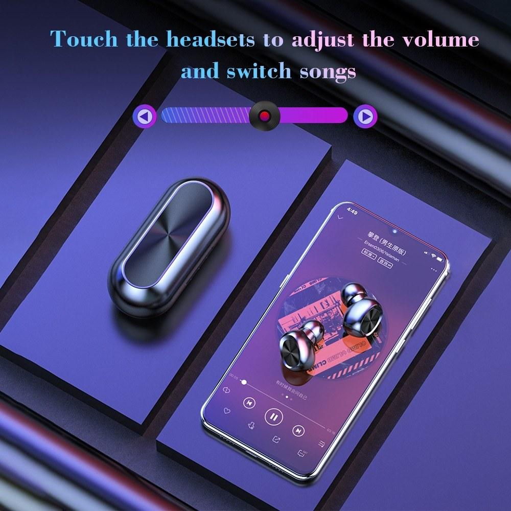 B5 TWS HiFi Bluetooth 5.0 Ture Wireless Earphone Auto Pair Touch Control Volume CVC8.0  Intelligent Noise Reduction Power Waterproof Wireless Earplugs 300mAh Charging Bin