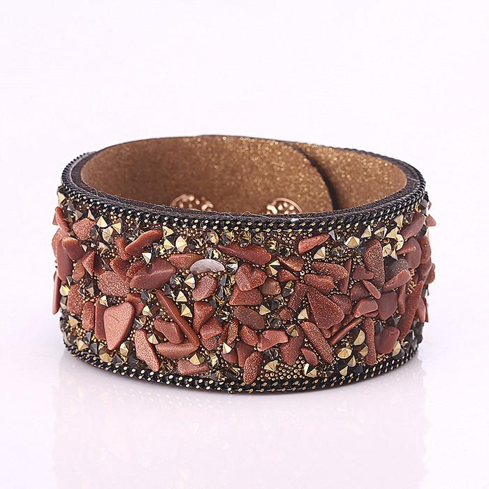 Fashion leather velvet hot drilling bracelet Creative personality diamond bracelet wrist band