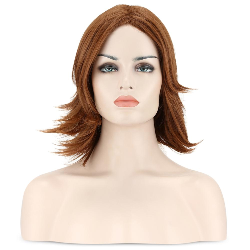 Medium Side Part Straight Feathered Bob Synthetic Wig