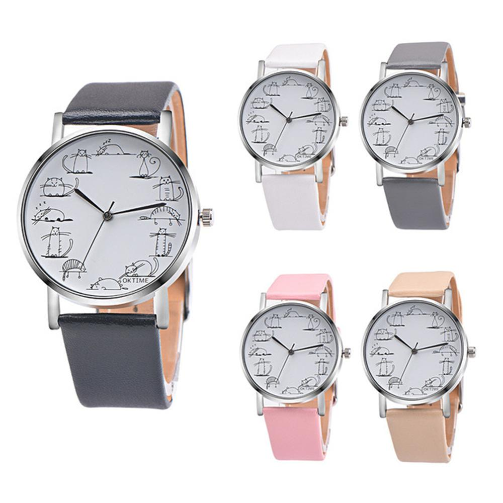 Lovely Cat Analog Alloy Quartz Watch Clock Leather