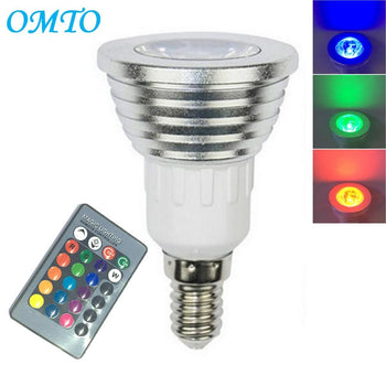 OMTO 1PCS E14 3W RGB 16 Color Changing Spotlight with IR Remote Control Mood Ambiance Lighting