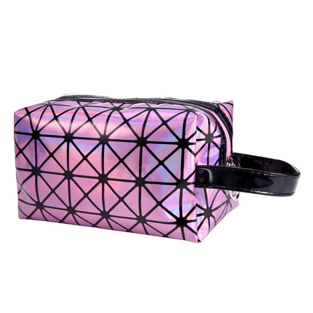 2018 New Fashionable Geometric Cosmetic Bag For Women Luminous Makeup Cases Ladies Zipper Cosmetics Organizer Folding Travel Make Up Handbag Classic 3D Diamond Texture Clutchbag
