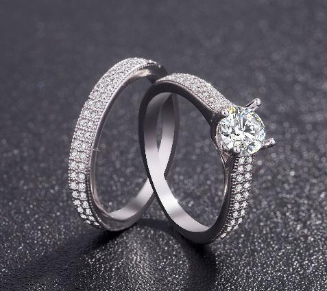 Topaz zircon wax inlaid platinum ring couple couple ring wedding engagement ring