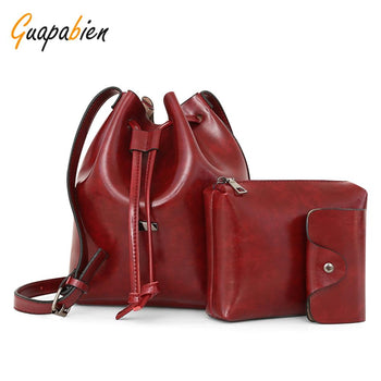 Guapabien 3pcs Women Crossbody Bag Handbag Card Pocket PU Leather