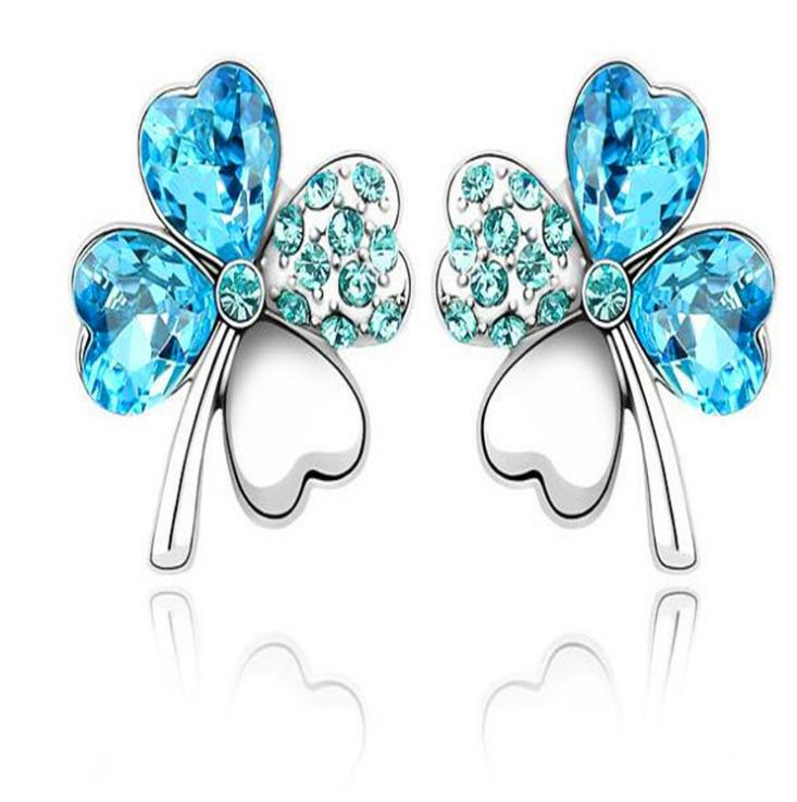 Four-leaf clover crystal full earring earrings