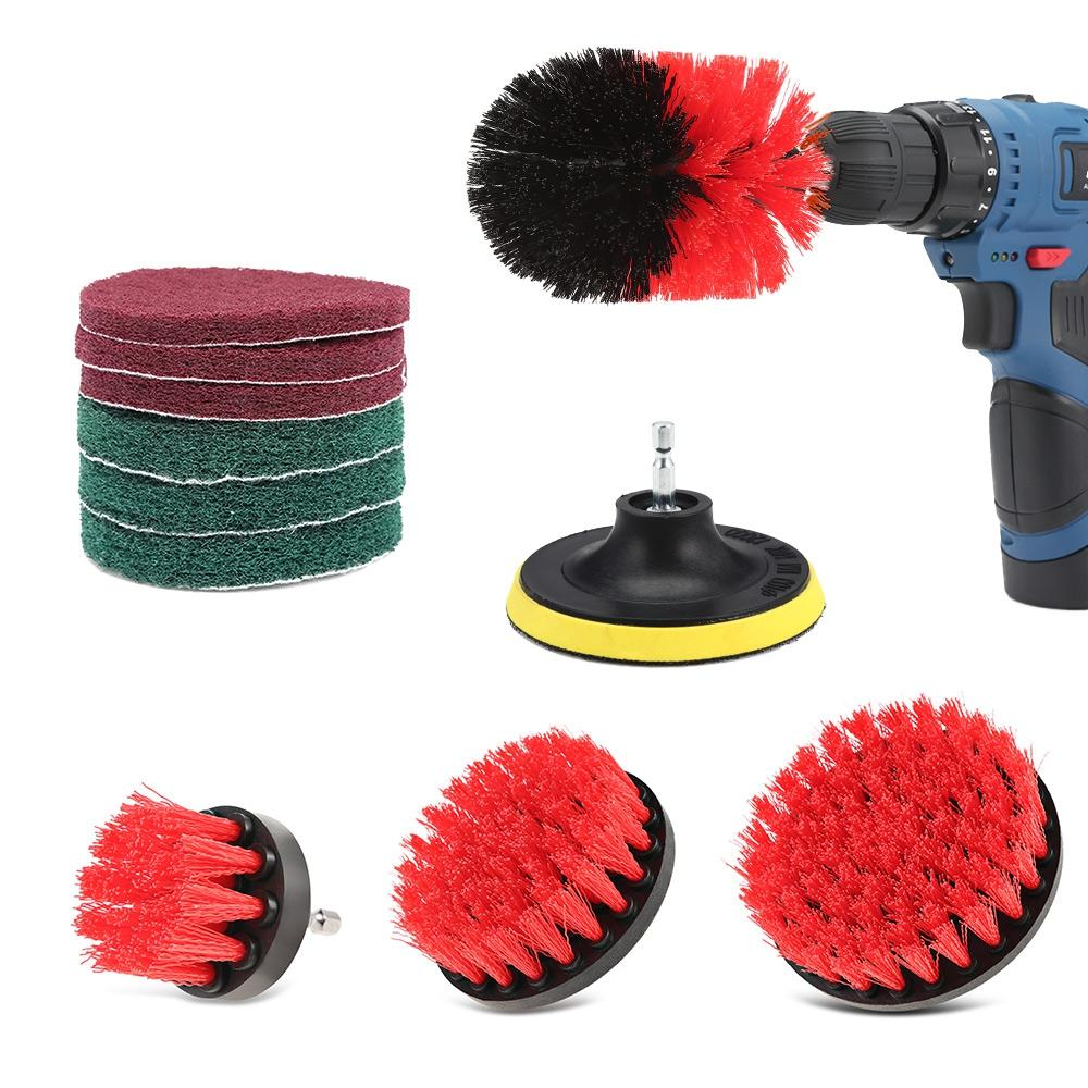 11pcs Drill Brush Scouring Pad Attachments for Bathroom Kitchen Cleaning