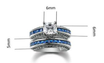 Fashion personality square zircon women's ring ring Platinum plated ring