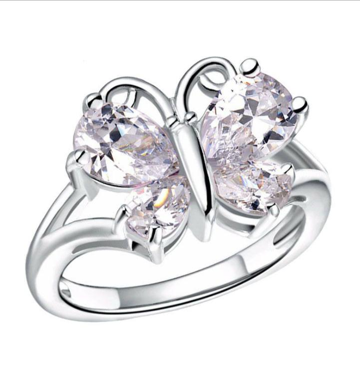 Domineering Butterfly Ring Color Crystal Butterfly Silver Ring