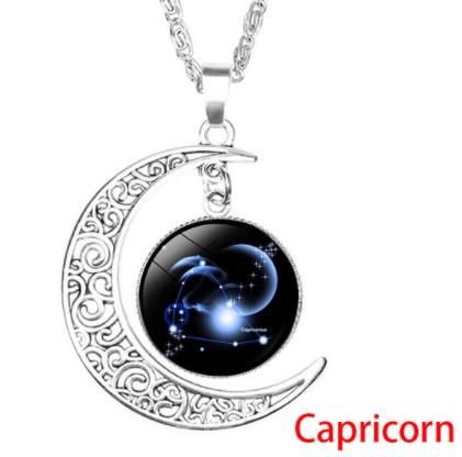 12 constellations time gem necklace silver moon pendant necklace