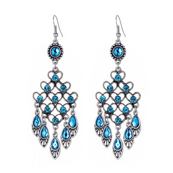Ethnic style alloy crystal earrings women long