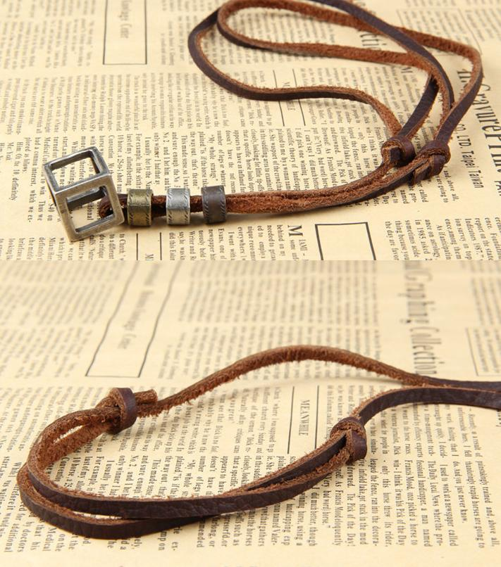 Fashion new metal double ring cowhide necklace