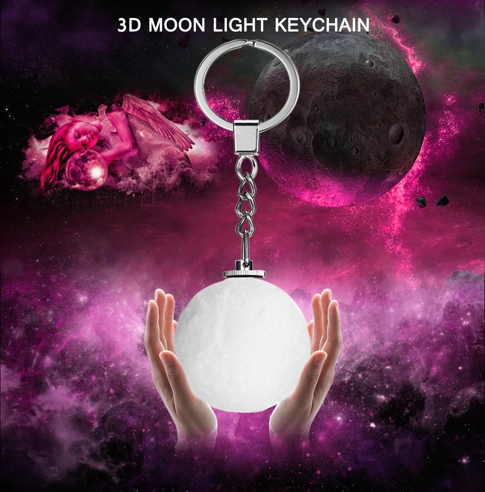 RGB 3D Moon Night Light Key Chain Accessories for Handbag