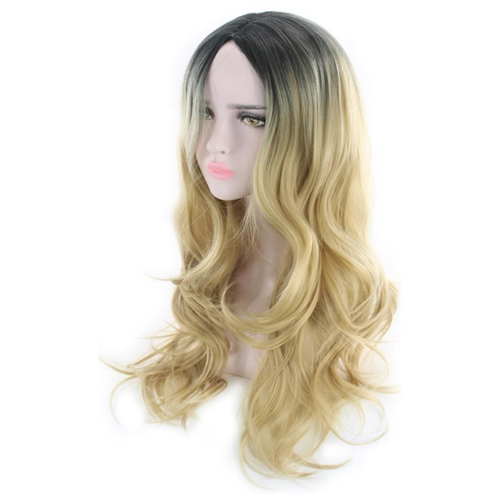 Women Hairstyle Gradient Color Wave Curls Long Curly Hair Wig