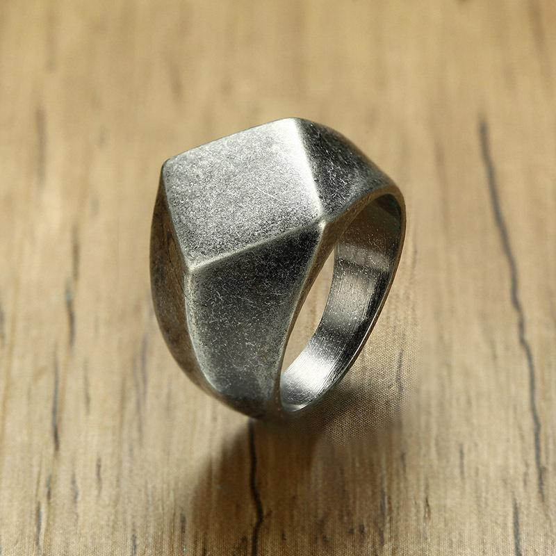 Simple diamond shaped stainless steel ring