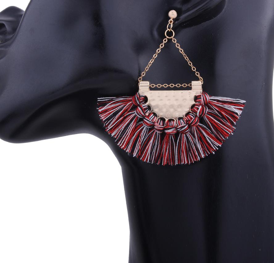 National wind alloy inlaid personality temperament Europe and America exaggerated four-color tassel