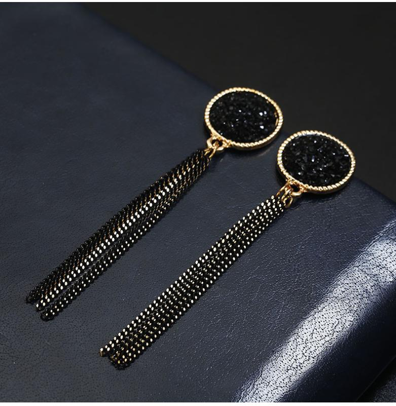 Earrings tassels long geometric temperament earrings Korean version of the new wild earrings women's fashion earrings