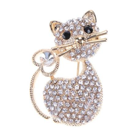 Fashion brooches Women Girl pins Crystal Broches Cat Brooch Pin Jewelry Christmas Gift broche