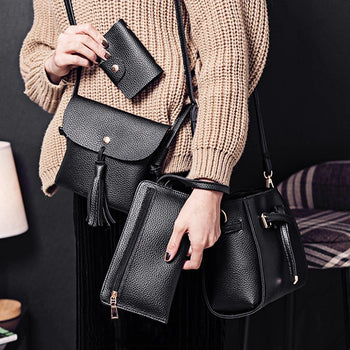 4pcs Elegant Tassel Women Shoulder Crossbody Composite Bag Card Holder Wristlet