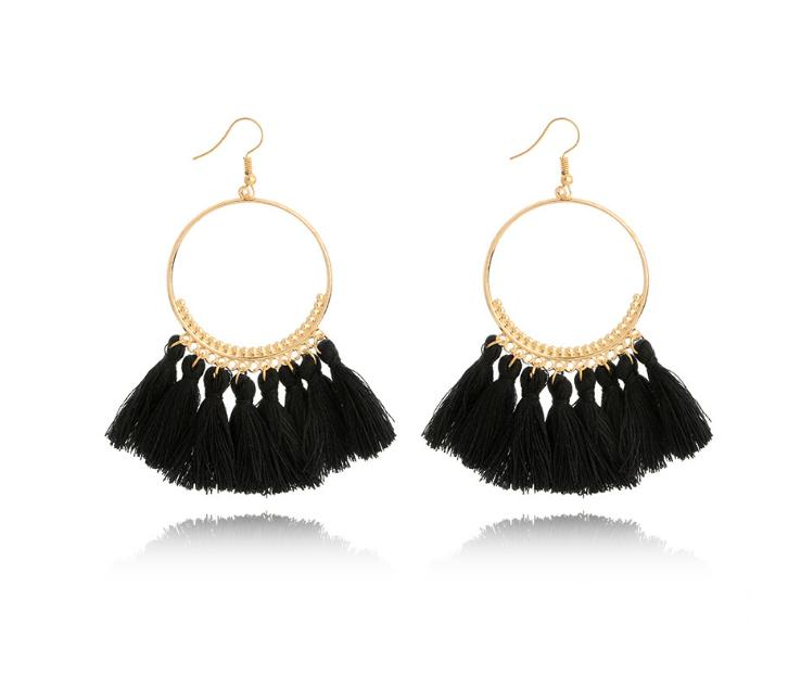 Tassel earrings Fashion creative European and American jewelry big circle