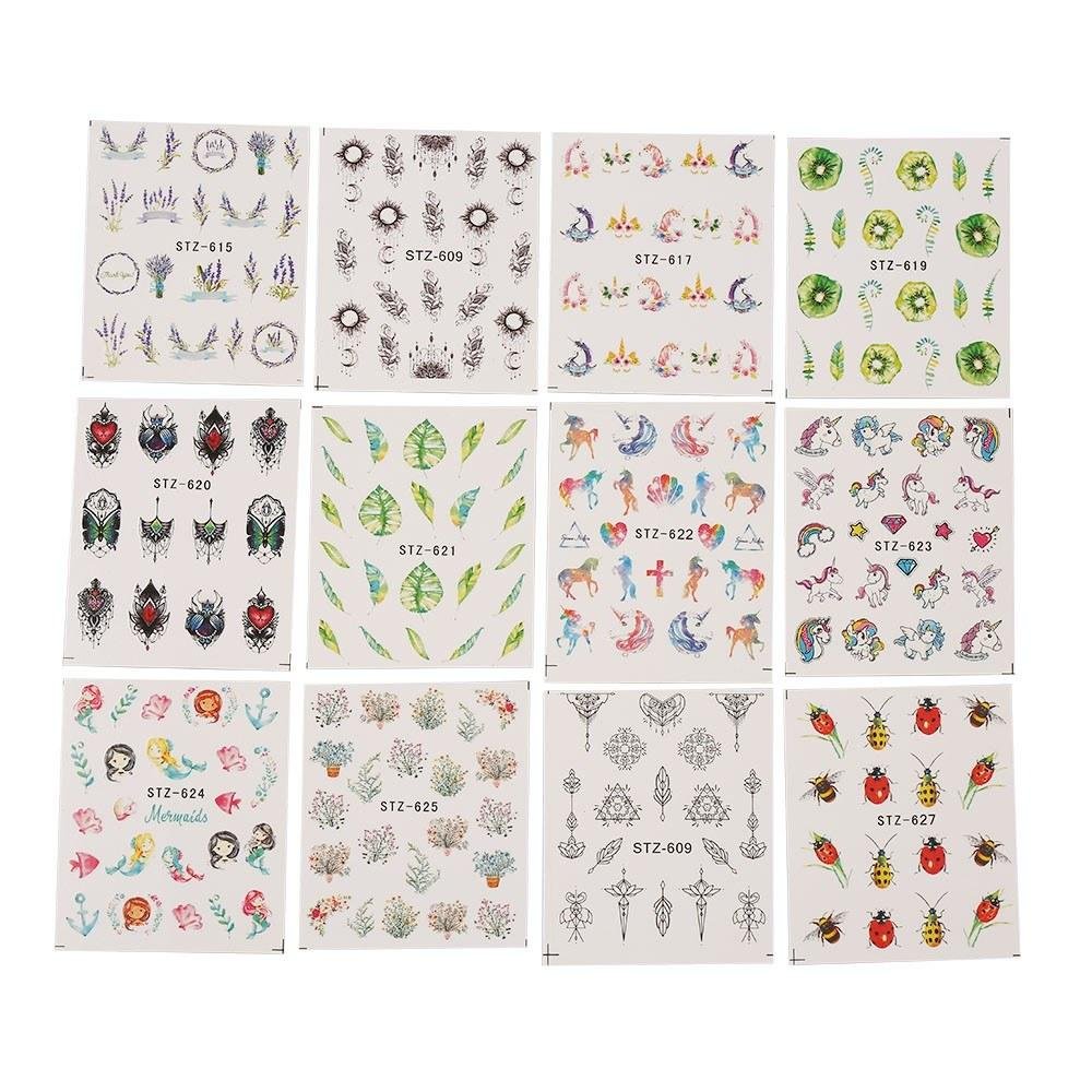 24pcs Nail Stickers Water Transfer Tattoo Flower Butterfly Pattern Manicure Nail Decorations