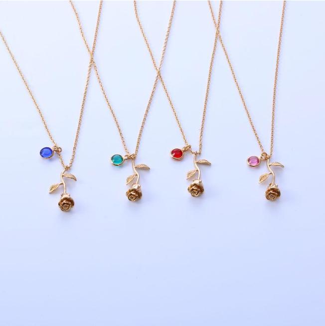 Fashion personality rose necklace birthstone necklace