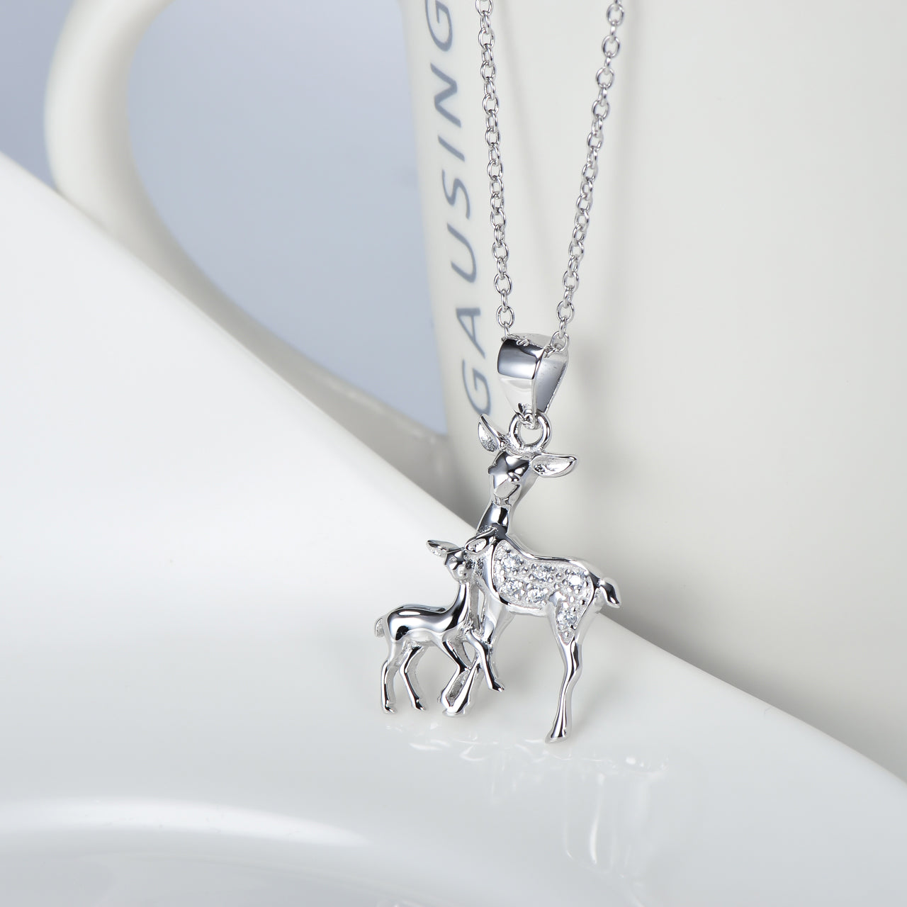 Silver Fawn Necklace