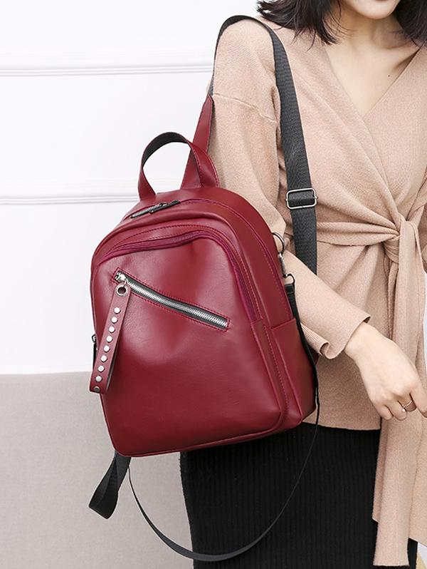 PU Double Zipper Backpack