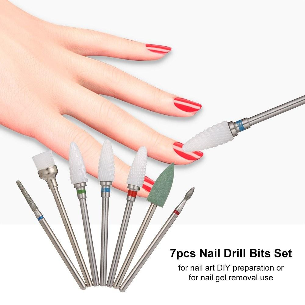 7pcs Nail Drill Bits Set for Pedicure & Manicure Replacement Drill Bits Heads for Electric Nail Drill Handpiece