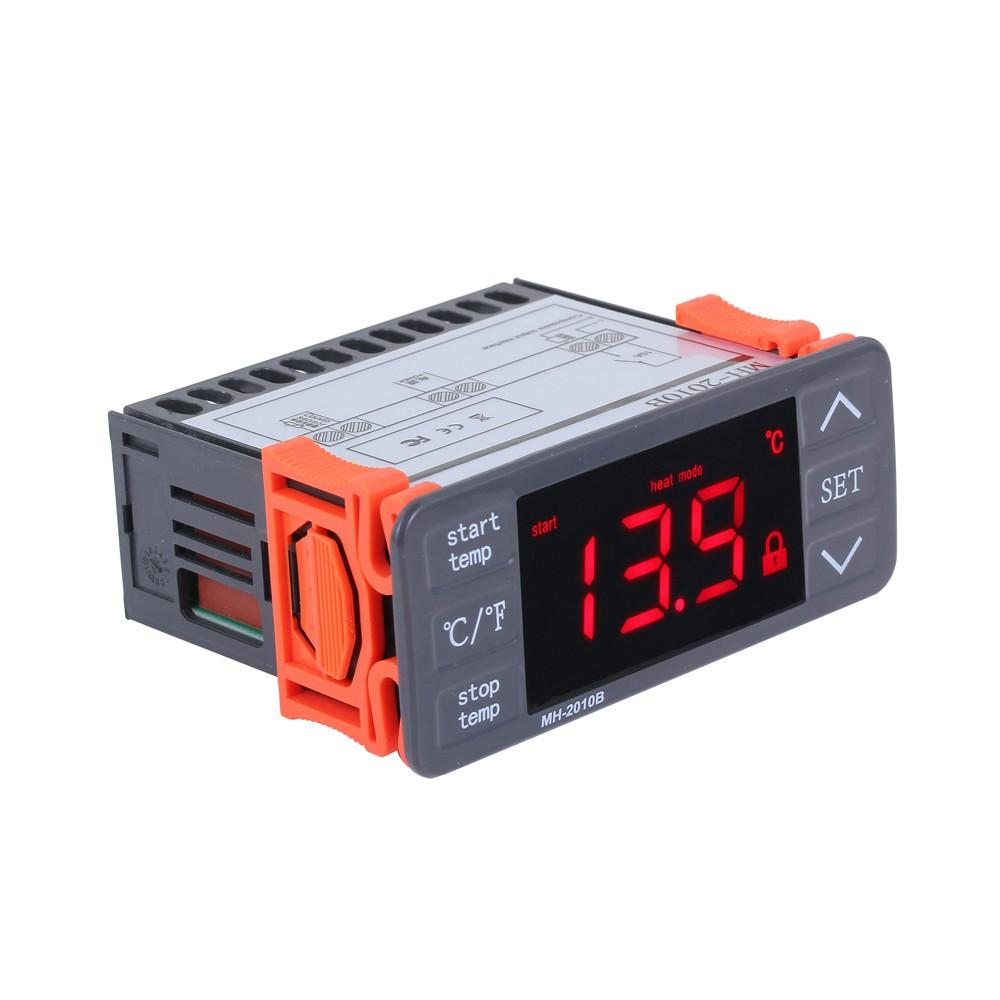 AC220V Digital LED Temperature Controller Touch-keys °C/°F Heating and Cooling Thermostat 10A 1 Relay with NTC Sensor